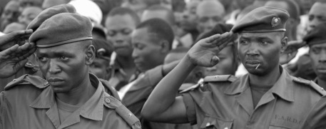 Congolese soldiers on parade.