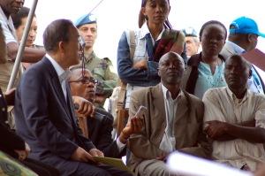 UN Secretary General Ban Ki Moon meets with skeptical Congolese refugees.