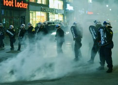 Police misjudge the wind direction during student protests in Montreal.