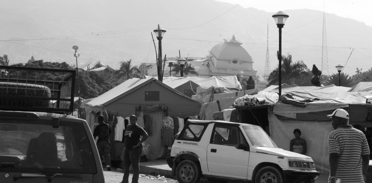A displacment camp in the shadow of the destoyed Parliament in Champ de Mars, Port au Prince