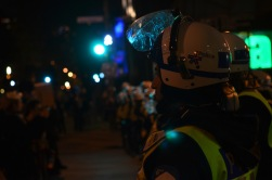 Police stand watch in Montreal during the student protests that consumed the city for months.