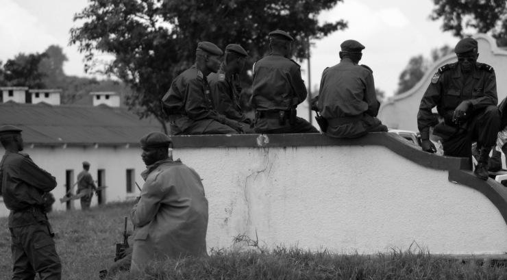 FARDC soldiers await an intergration ceremony in Rumangabo, DRC