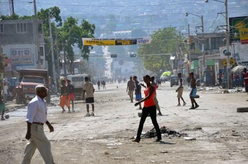 Downtown Port au Prince, election day.