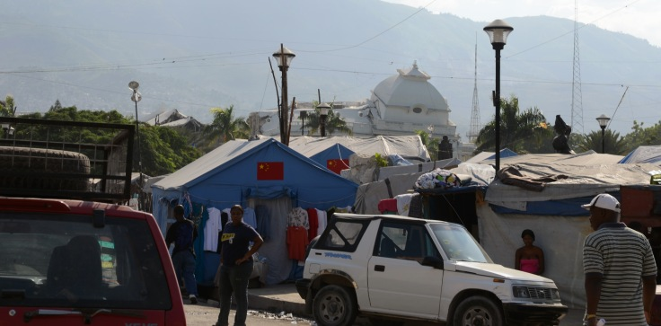 Champs de Mars, Port au Prince. A refugee camp sprung up in the shadow of Haiti's destroyed Palais Nationale.