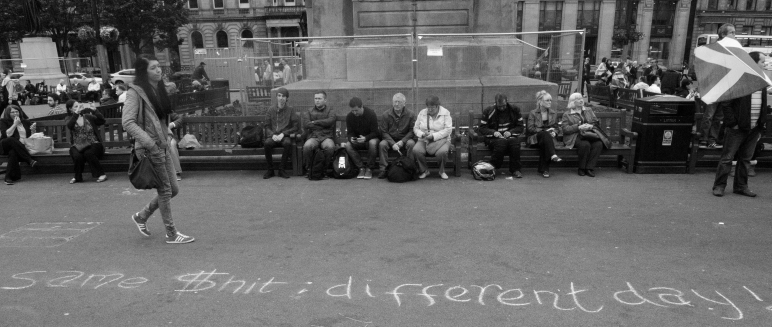 Chalk messages reflecting the disappointment of the 'yes' campaign adorn George Square, Glasgow the morning following the referendum.