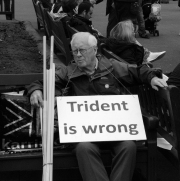 An anti-nuclear campaigner sits in George Square, Glasgow. The Trident nuclear submarine base in Scotland was a major issue throughout the referendum campaign.