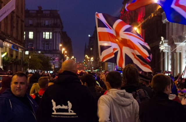 Unionists march through Glasgow the night after Scotland's referendum.