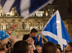 A 'yes' supporter on referendum night in George Square, Glasgow.