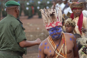 A Congolese entertainer at a rebel integration ceremony in North Kivu.