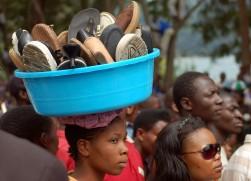 A shoe trader in the Democratic Republic of Congo.