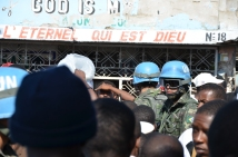 UN peacekeepers on patrol on election day in Cite Soleil, an impoverished Port au Prince neighbourhood.