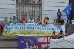 Protesters rally in Rio in support of Brazilian president Dilma Rousseff.